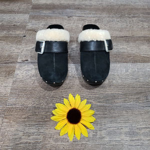 Michael Kors Suede and Fur Clogs in Black 7 1/2